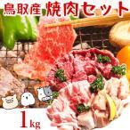 鳥取県産 焼肉セット 1kg(3〜5人前) 牛肉 豚肉 鶏肉 焼き肉 バーベキュー BBQ ファミリーセット たっぷり1キロ 送料無料