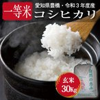 【令和元年度・愛知県豊橋産・送料無料】コシヒカリ・30kg まとめ買い(減農薬玄米)