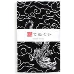 彩てぬぐい(irodori) ドラゴン(黒) 小紋調 日本製 ほつれ防止加工なし 乾きやすい 昔ながら タオル ハンカチ TE-06004-IR