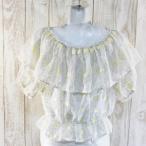 LIZ LISA/リズリサ ベルスリーブシャツ トップス 半袖カットソー ブラウス イエロー 0サイズ 春夏 シンプル シースルー