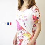 ショッピングカットソー 半袖カットソー Tシャツ フランス製 和モダンプリント ミセスファッション 50代 60代 上品 贈り物 ギフト包装 プレゼント 大きいサイズ