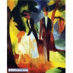 アウグスト・マッケ「青い湖のほとりの人々」67x54cm 肉筆油絵複製画