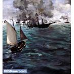 エドゥアール・マネ「キアセージ号とアラバマ号の海戦」80x74cm 肉筆油絵複製画
