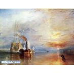 ウィリアム・ターナー「解体されるために最後の停泊地に曳かれてゆく戦艦テメレール号」46x60cm 肉筆油絵複製画