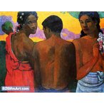 ポール・ゴーギャン「3人のタヒチ人」47x60cm 肉筆油絵複製画