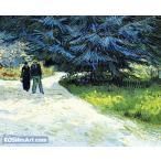 フィンセント・ファン・ゴッホ「カップルのいる公園と青いもみの木」103x126cm 肉筆油絵複製画