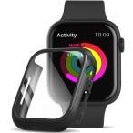 Apple Watch 5/4  44mm フィルム ガラス 素材 超薄型  ガラスフィルム ケース 全面保護 耐衝撃 PC アップルウォッチ4/5 カバー (ブラック)商品代引不可