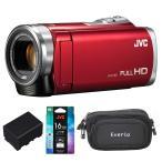 オススメ! ランキング 商品 JVC(ビクター) ビデオカメラ  GZ-E109-R  レッド 予備バッテリー バッグ SDカード セット アウトレット