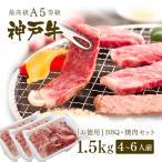 【アウトレット】A5等級 神戸牛 BBQ(バーベキュー)・焼肉 セット 神戸牛赤身・ロース・カルビ 1.5kg