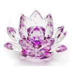 置物 クリスタルガラス 蓮の花 パープル 大  置物  風水 置物 サンキャッチャー インテリア