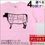 おもしろtシャツ ウケる!「牛肉部位イラスト」Tシャツ(半袖)お肉の部位シリーズ  AM62