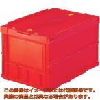 TRUSCO 薄型折りたたみコンテナ 50Lロックフタ付 赤 TRC50B R