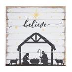 Sincere Surroundings パーフェクトパレット14 x 14インチ 木製看板 ビリーブマンジャーのキリスト降誕のシーンクリスマス飾り額