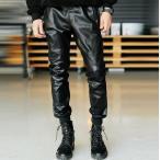 レザーパンツ レザーチャップス PU革新品メンズ スキニー 革お兄系 バイク皮パンツ タイトル ライダースパンツ 革ジャン 大きいサイズ