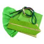 振袖用 正絹 四ッ巻絞り 帯揚げ・帯締め・重ね衿 3点セット 黄緑 h-357