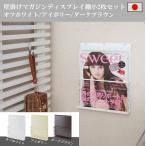 日本製 壁掛けマガジンディスプレイ棚小2枚セット オフホワイト アイボリー ダークブラウン マガジンラック 飾り棚 壁掛けラック ディスプレイ棚