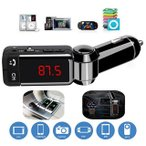 ショッピングbluetooth LCD Bluetooth MP3 FMトランスミッター SD USB 充電器 ハンズフリー iPhone 4 5 6 7 Android 12V 24V