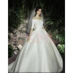 ウェディングドレス 結婚式 花嫁  プリンセスドレス  白ドレス  ロングドレス  披露宴  トレーン 引き裾
