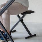キーボードベンチ 椅子 スツール 折りたたみ 高さ調節 いす イス クッション 軽量 コンパクト 電子ピアノ X型 キーボードチェア ブラック 黒
