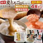味付とろろ&麦ごはん 博多むぎとろごはん 4食セット ご自宅で簡単!青森県産とろろ使用 冷凍便でお届け