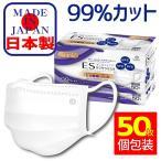 マスク 日本製 50枚 個別包装 箱 不織布マスク 99%カット フィルター 花粉対策 三層構造 男女兼用 ウィルス対策 ますく 普通サイズ 送料無料 (N-50-MB)