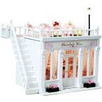 本格ライトアップ ミニチュア ドール ハウス 白い 洋菓子店 プレゼントにおすすめ