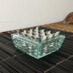 バリ島 デザインガラス 灰皿 アルミ アッシュトレイ 喫煙具 タバコ 小物入れ 器 インテリア