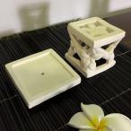 キャンドルスタンド 角 花 樹脂セメント キャンドルホルダー アジアンランタン ろうそく立て 蝋燭