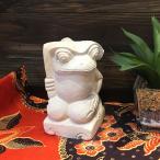 NEW◆ バリ島製 石像 ミニぷっくりカエル  葉傘持ち H15cm