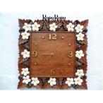 再入荷 送料無料 バリ島製 プルメリアの掛け時計 D ブラウン アジアン時計 バリ雑貨 アジアン雑貨 インテリア