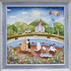 「夏の思い出」なかのまりの 特殊ゲル加工アート・ネコ・ねこ・猫[絵画通販]【壁掛けフック付き】【絵のある暮らし】