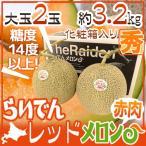 """【送料無料】北海道 赤肉メロン """"らいでんレッドメロン"""" 2玉 約3.2kg 化粧箱【予約 8月下旬以降】"""