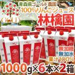"""青森 GOLD農園 """"りんご100%ストレートジュース 林檎園"""" 1000g×6本×【2箱】"""