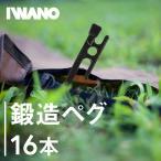 i-WANO 岩野ペグ 鍛造 日本製 30cm 16本セット 硬い地面でもぐいぐい打てる カチオン電着塗装 ヘッドが大きく打ち込みやすい キャンプ アウトドア
