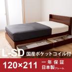 収納 ベッド ロング セミダブル SD 日本製ポケットコイルマットレス付き 収納 FMB81