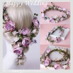 ウェディング 花かんむり 花冠 造花 フラワー ティアラ ローズ お花 ヘアアクセサリー 安い ヘッドアクセ