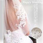 ウェディングベール ショートメタルコーム付き ラインストーン 刺繍 結婚式 ブライダル