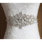 サッシュベルト フラワーモチーフ クリスタル ブライダル小物 ウェディングドレス 結婚式 教会挙式