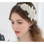 ウェディングリボンカチューシャクリスタルティアラヘッドドレス結婚式 教会挙式