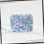 素材糸 新作 シルバーループ 手染め糸 オリジナル ハンドメイド 引き揃え 添え糸 クルミの糸 限定1玉 No.110 シルバーループ ブルー系 26g