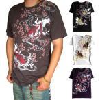 ■夏物処分セール■ 和柄 Tシャツ 半袖 メンズ 大きいサイズ 悪羅悪羅系 オラオラ系 金魚 半袖Tシャツ 金魚柄 mts182