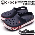 クロックス メンズ レディース サンダル 靴 ネイビー ブラック クロッグサンダル CROCS CROCBAND BOLD LOGO CLOG 206021 平日3〜5日以内に発送