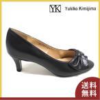 パンプス ユキコキミジマ リボン パーティ オープントゥ 前空き レディース 国産 Yukiko Kimijima 1340 ブラック 黒