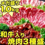 バーベキュー焼肉セット1kg 国産牛カルビ・やわらか牛ハラミ・けんこう豚カルビ・焼肉のタレ