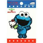 キャラクターワッペン アップリケセサミ×キティ刺繍 アイロンワッペンCOOKIE MONSTER・クッキーモンスターG01I8422