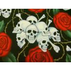 生地 布 USAコットン THE ALEXANDER HENRY FABRICS skulls スカル 1595AR アレキサンダーヘンリー ファブリックス バラとドクロ 商用利用可能
