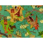 YUWA 有輪商店 入園入学 生地 岡本洋子 The World Map Y0826149A ザ・ワールドマップ イギリス フランス スペイン アメリカ オーストラリア