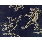 和調柄 生地 布 藍染め調 ムラ糸 捺染プリント 鳥獣戯画 KW7070-7A紺色 商用利用可能