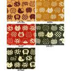 和調柄 ドビー織生地 布 縁起物 招き猫 まねき猫柄 AP62305-1 フェイス 商用利用可能
