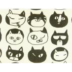 スムースニット生地 布 悪ネコ フェイス柄 T9000Aホワイト×ブラック モノトーンカラー 黒猫 クロネコ くろねこ 動物柄 商用利用可能